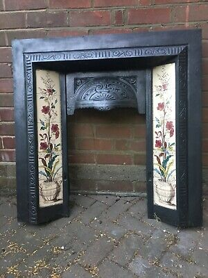 Original Victorian Cast Iron Fire Surround With Tiles
