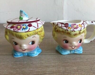 Vintage ESD Japan Miss Dainty Sugar Bowl with Lid And Creamer Stamp #6820