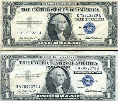 2 United States paper Dollars Silver Certificate - Series 1957 used