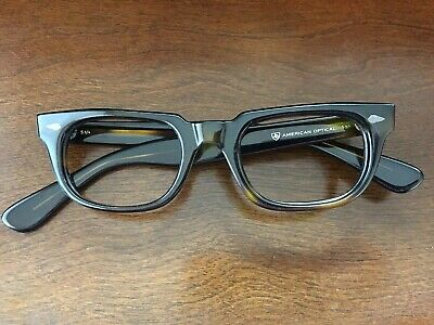 Original Vintage AO American Optical Stadium Green tortoise shell 44 _ 16 1950s