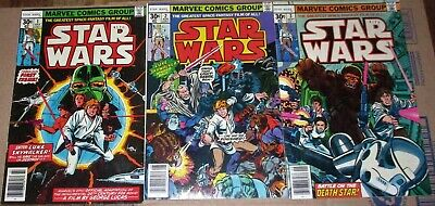 Marvel STAR WARS #1 2 3  1977 30 cents Reprints Original NEAR MINT UNREAD Books