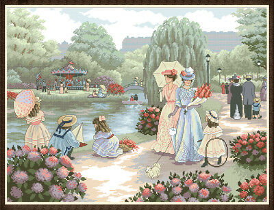 A Stroll In the Park -  Cross Stitch Chart Digital Format