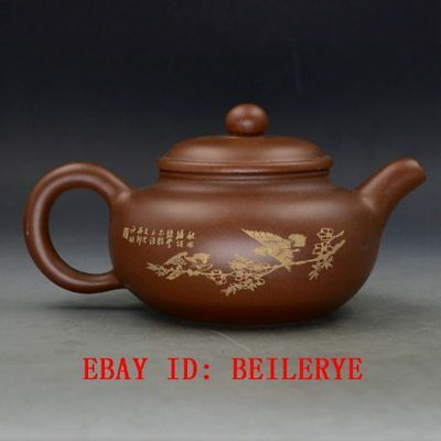 Chinese Yixing Zisha Hand Carved Painting Bird Teapot Made By Zhou Zhichen BY5