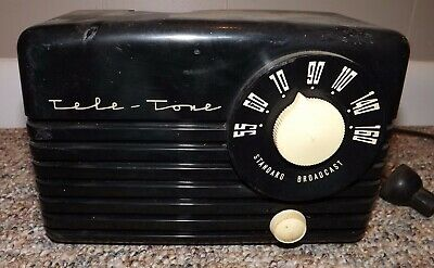 Vintage Tele-Tone Bakelite Tube Radio Model 347 ~ Plays With Hum, Original Knobs