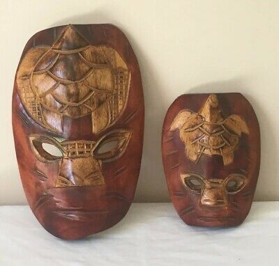 Wooden Carving Masks X 2 Wall Hangings Turtle Design Very Good Condition