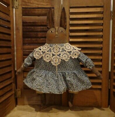 Primitive Sweet Brown Bunny Doll*Old lace*Blue dress*Folk Art Rabbit*Americana*
