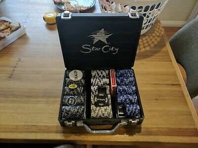 Star City well Used Poker Set little less than 300 heavy chips