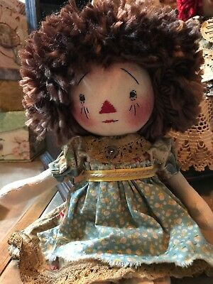 "Primitive Raggedy ANN doll~11"" Folk Art Annie~Old Vintage Look~Sweetest Face"