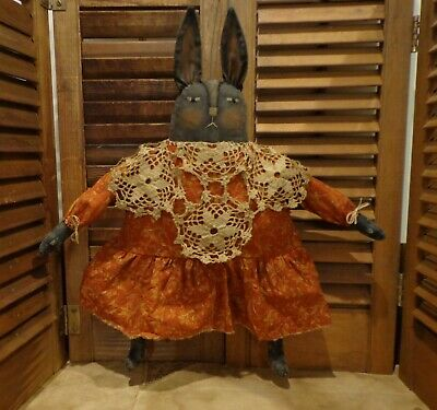 Primitive Black Bunny Doll*Old lace*Red Orange dress*Folk Art Rabbit*Americana*