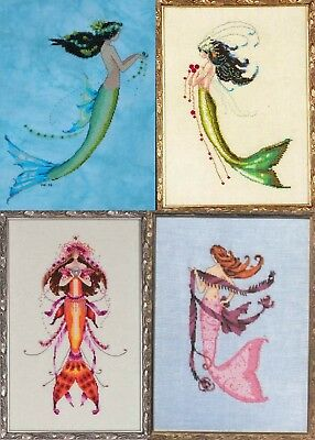 Set of 4 Mermaids - Azure & Verde - Cross Stitch Chart - Digital Format