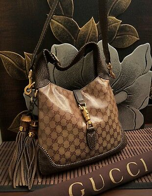 """35b83646fb4 100% Authentic Gucci """"Jackie"""" coated canvas Bag."""