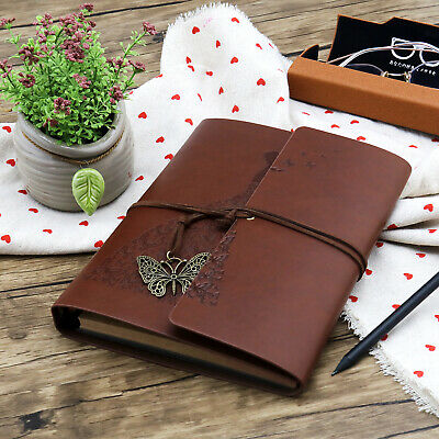 Brown Butterfly Girl Leather DIY Family Photo Album Scrapbook A5 Memory Book