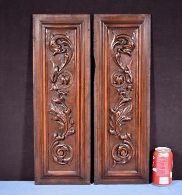 *Pair of Antique French Highly Carved Panels in Solid Walnut Wood Salvage