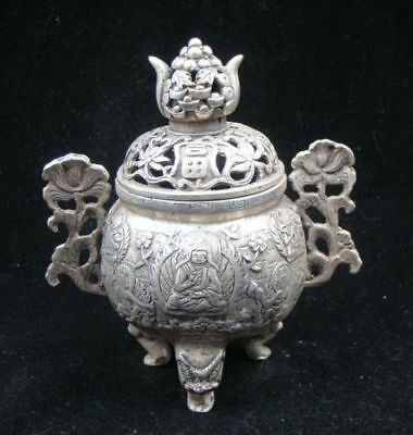 Collectible Handmade Carving Statue Buddha Copper Silver Incense Burner