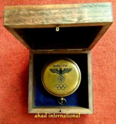 Solid Brass Push Button Compass Antique 3'' Nautical Gift Wooden Box