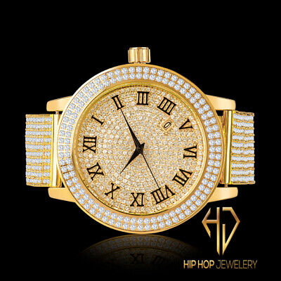 Men's Simu Diamond Roman Khronos Yellow Gold 2 Row Custom Steel Watch Band Bezel