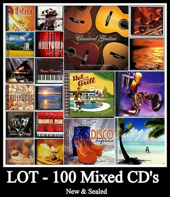 Bulk Lot 100 Mixed Music CD's,Instrumental,New Sealed, Great for Market Sellers