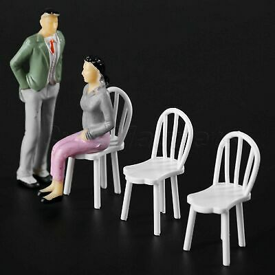 10Pcs 18*42mm White Plastic Miniature Chair Model Dollhouse Decor 1:25 Scale