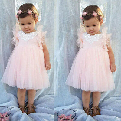 AU Kid Princess Baby Flower Girl Dress Backless Party Tulle Bridesmaid Dresses