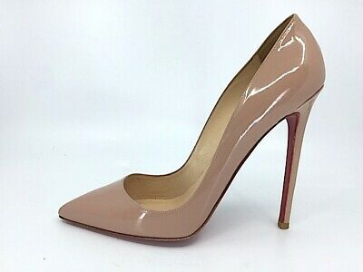 9b879e61026f CHRISTIAN LOUBOUTIN PIGALLE Nude Patent Leather Pointed Toe High Heel Pump  40.5