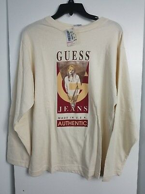 Vtg 90's Guess BIG LOGO Graphic SPELLOUT T-Shirt Long Sleeve Kids Large NWT