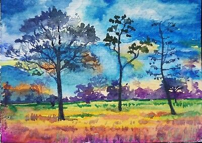 ORIGINAL ACEO Painting Art Nature Tree View Scene Landscape Field