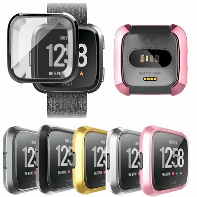 Soft TPU Silicone Shell Frame Full Case Cover Screen Protector for Fitbit Versa#