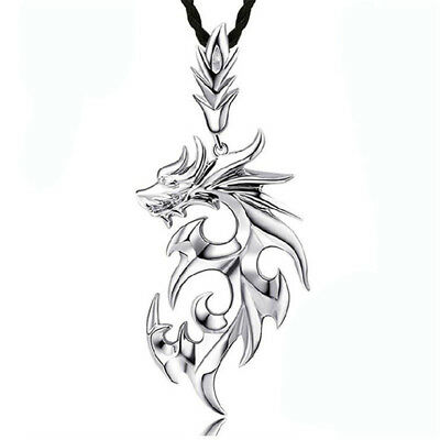 Men Flame Dragon With Leather Rope Titanium Steel Retro Pendant Necklace N7