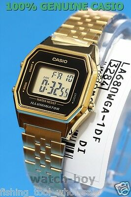 LA680WGA-1D Gold Black Casio Stainless Steel Watch Lady Stopwatch Alarm Digital