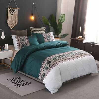 Floral Oriental Queen Size Doona Quilt Duvet Covers Set Bedding PillowCases Teal