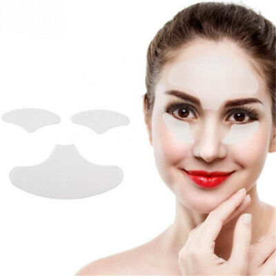 3Pcs Anti Ageing Set Chest & Forehead Wrinkle Silicone Pad Frown Line Neck LH