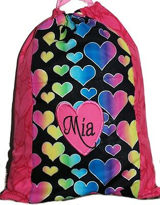 Personalised drawstring library bag - Two tone rainbow hearts - SMALL
