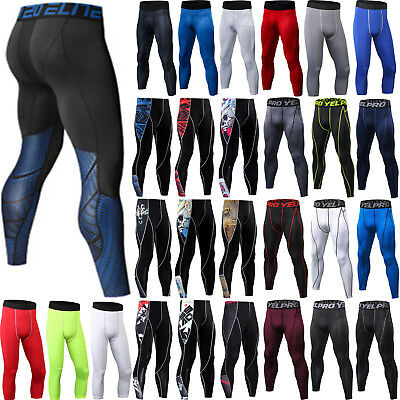 Mens Gym Sports Compression Base Layer Leggings Jogger Fitness Pants Trousers