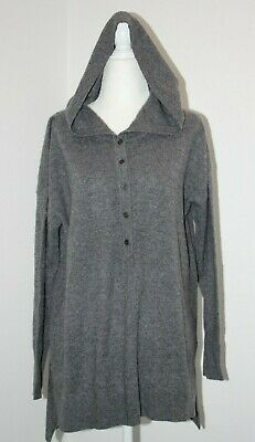 Cynthia Rowley Grey 100% 2-Ply Cashmere Henley Hoodie Sweater Pullover sz S, L