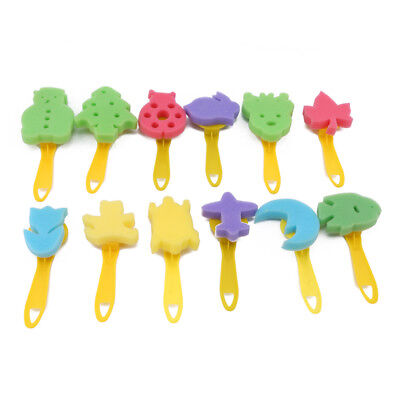 12Pcs Colorful Different Shapes Children Painting Craft Sponge Stamp For Kids LH