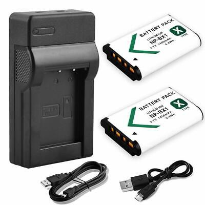 NP-BX1 2X Battery +USB Charger For Sony DSC-WX300 WX500 RX100 RX1 RX100M4 Camera
