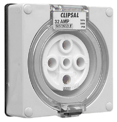 Clipsal SURFACE SOCKET OUTLET 500V 32A 5-Pins Round,Less Enclosure,Chemical Grey