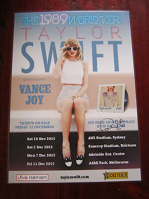 Taylor Swift - The '1989'  2015  Australian Tour SIGNED AUTOGRAPHED  Poster.