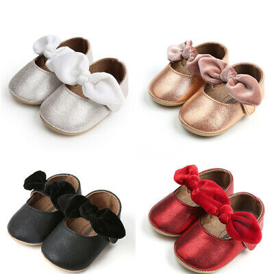 2019 Toddler Girl Crib Shoes Newborn Baby Bowknot Soft Sole Prewalker Sneakers