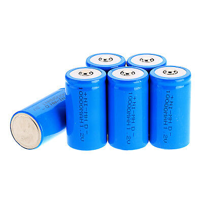 1x 2x 4x 5x  High Capacity D Size 1.2 V 10000mAh NI-MH Rechargeable Battery