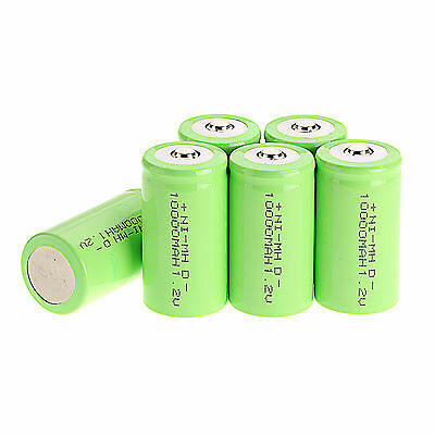 1x 2x 3x 4x 5x 1.2 V 10000mAh  D Size Battery NI-MH Rechargeable Battery