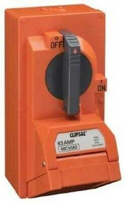 Clipsal SWITCHED SOCKET OUTLET 500V 63A 5-Pins Round,Heavy Duty,Resistant Orange