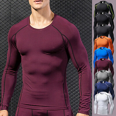 Mens Compression Long Sleeve Gym Base Layer Skin Workout Fitness T-Shirt Tops