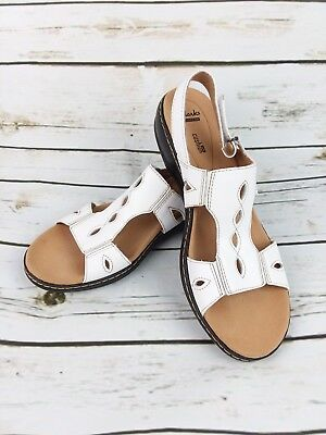 6bb6559295c Clarks Sandals Womens Size 11 White Leather Sling Back Comfort Shoes 3L2