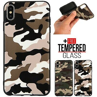For iPhone 6S 7 8 Plus XR XS MAX Camo Army Pattern Case Shockproof Rubber Cover