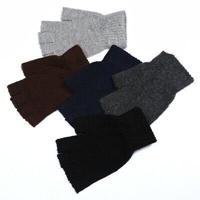 US Men Knitted Wool Fingerless Half Finger Warm Stretch Thermal Mittens Gloves