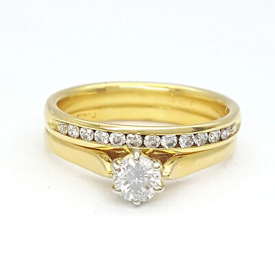 Ladies 18ct (750, 18K) Yellow Gold Diamond Engagement Wedding Rings