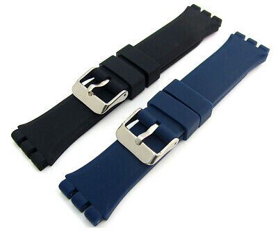 Chunky Silicone Strap 19mm For Swatch Irony Chrono Watch Black or Blue C094