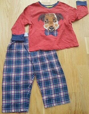 M&S Marks and Spencer 18-24 months Christmas pyjamas tartan red dog applique