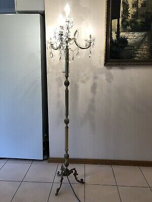 Vintage Crystal and Brass Chandelier Floor Lamp